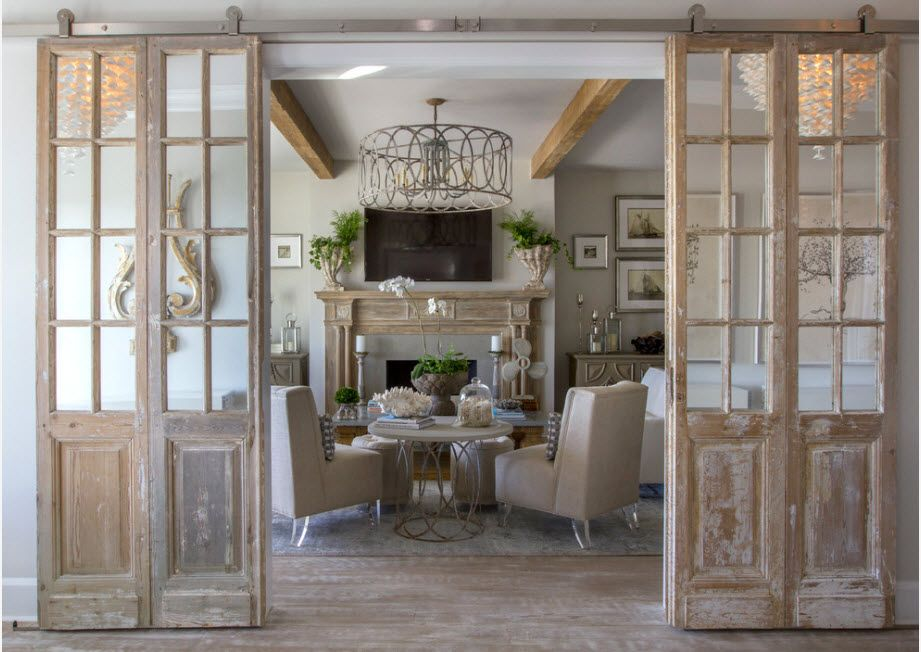 Vintage wooden framed interior doors with glass inlays for Classic interior