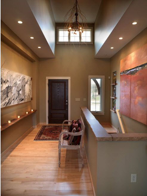 Noble saturated gray for the modern house entrance full of built-in light fixtures