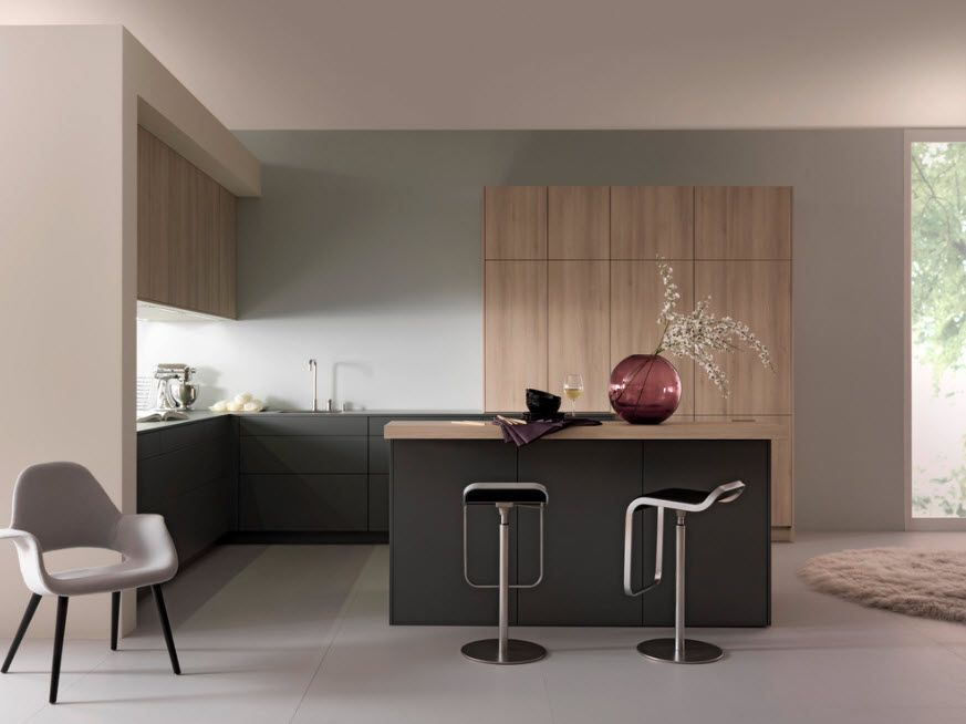 Unusual design for the modern kitchen with  bleached oak top tier facades