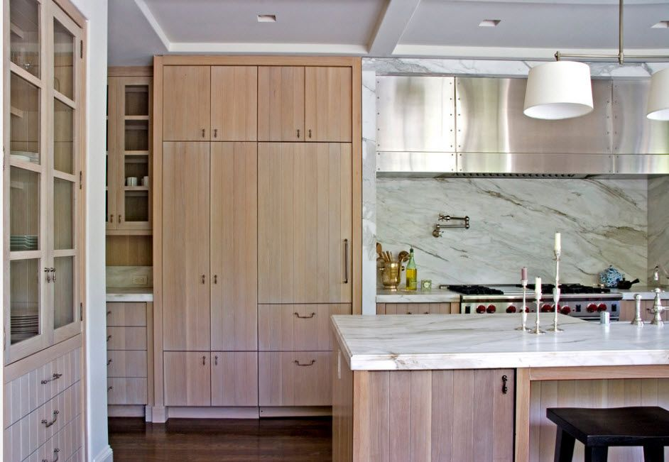Bleached oak furniture with texture for the modern designed kitchen