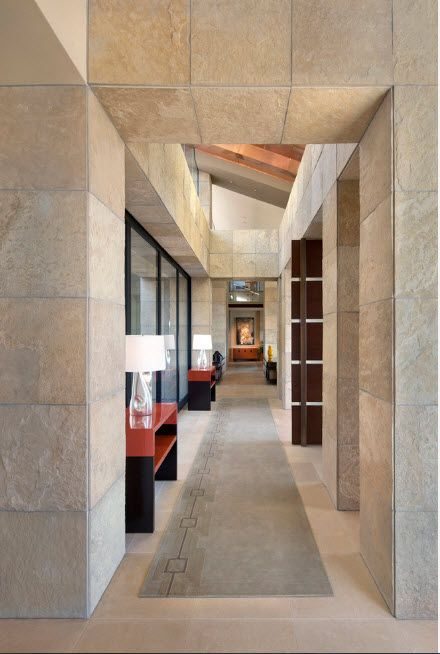 Big gray stone tiles for the private house's columns