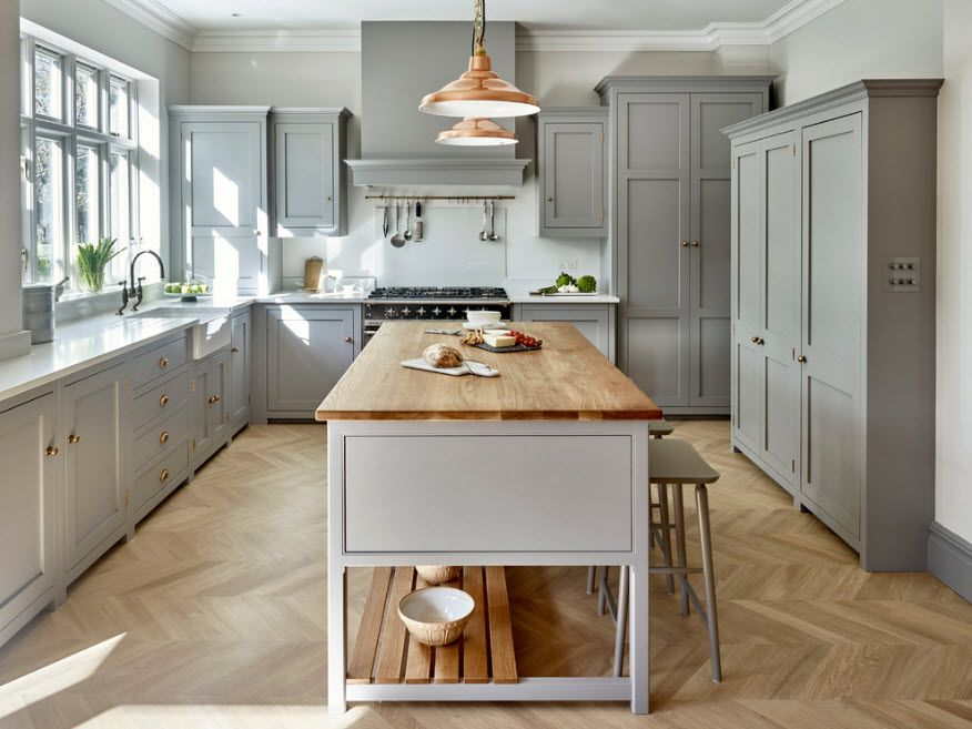 Bleached oak parquet for the Provence styled kitchen