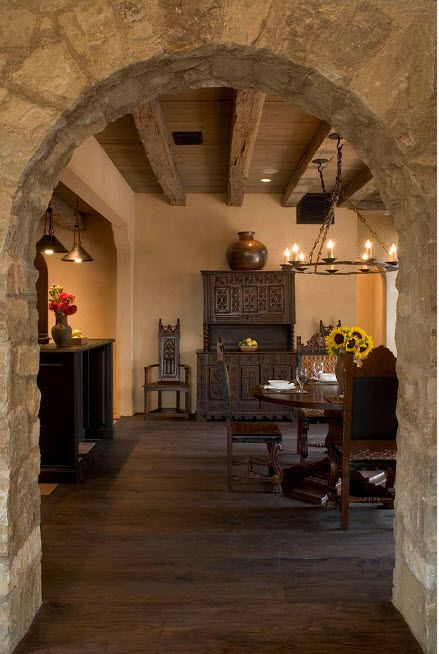 The Use of Decorative Stone for Modern Interiors' Finishing. Arch to the dining room decorated with so called soft stone