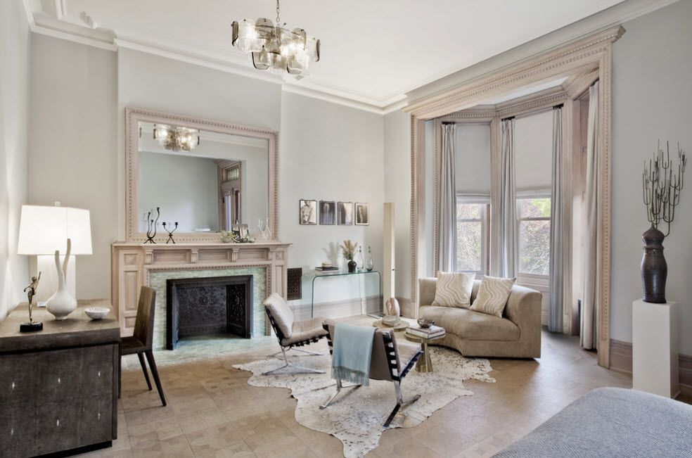 Bleached Oak Color in Modern Interior Design. Calm living room atmosphere in Classic style and with natural materials