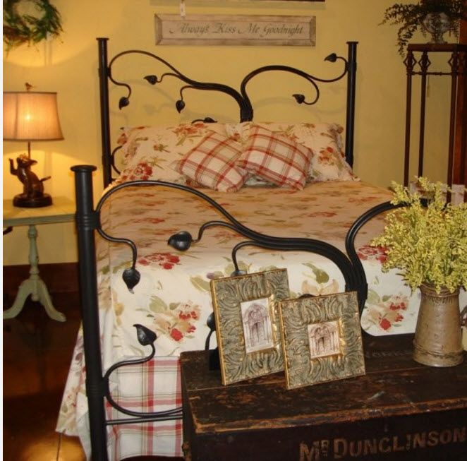 Wrought-iron Bed as a Stylish and Functional Interior Element. Unique forged frame design for simple designed room