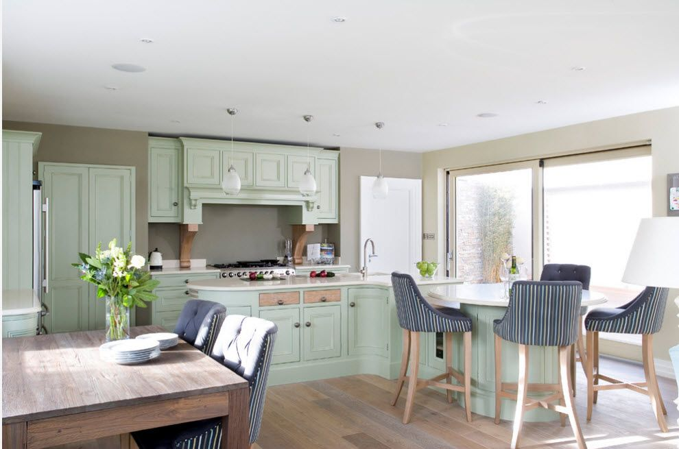 Bleached Oak Color in Modern Interior Design. Kitchen with dining zone and mix of colors