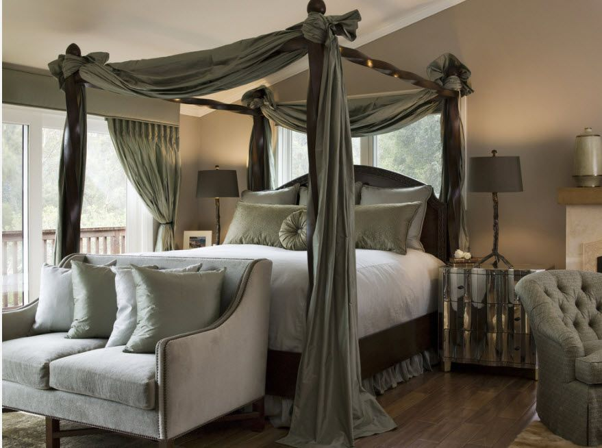 Wrought-iron Bed as a Stylish and Functional Interior Element. Nice fluffe canopy around the royal platform bed