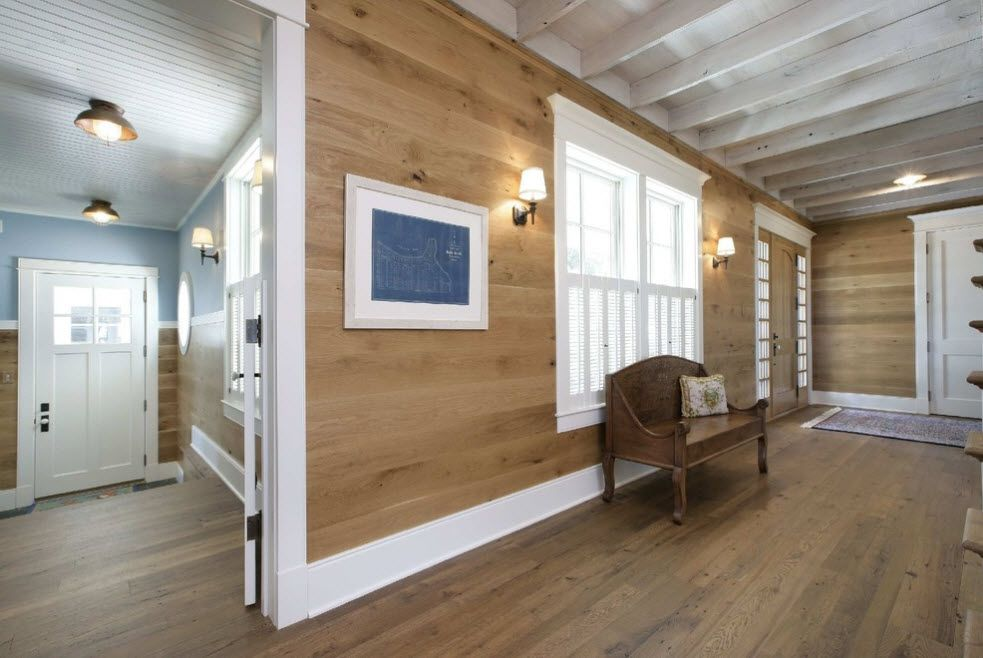 Bleached Oak Color in Modern Interior Design. Wooden trimmed panel at the wall of the modern open layout house space