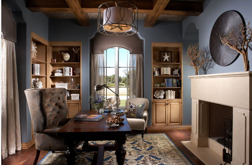 Blue wall paint for the spacious Classic styled home office