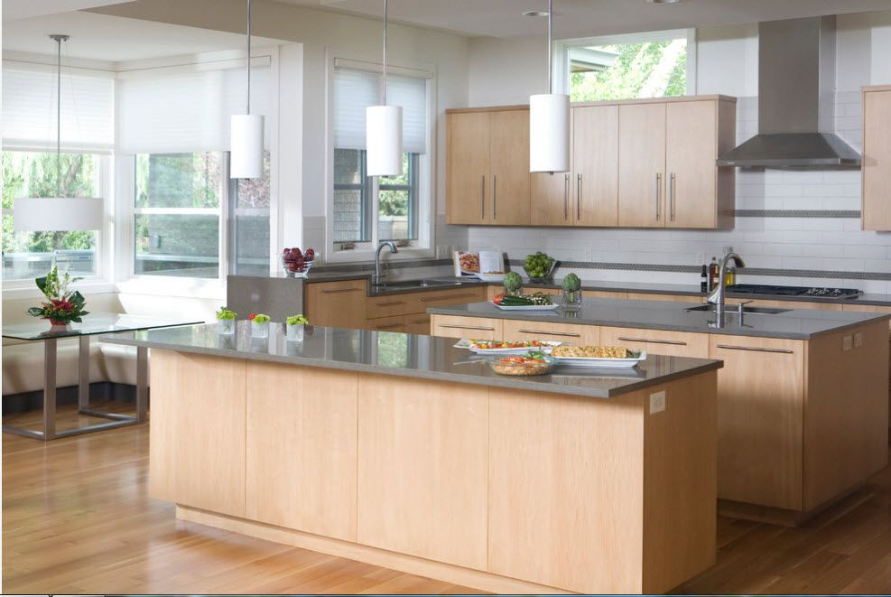 Bleached Oak Color in Modern Interior Design. Large space of the kitchen with light wooden side panels