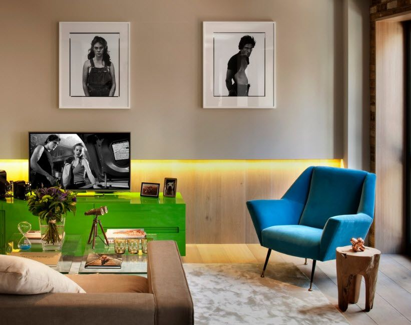 Peculiar design for the Casual styled living room with perimeter backlight