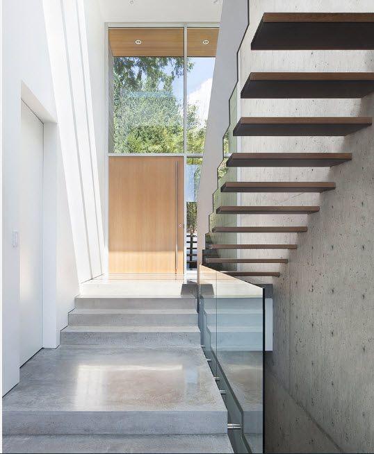 Bleached oak door in hi-tech designed private mansion