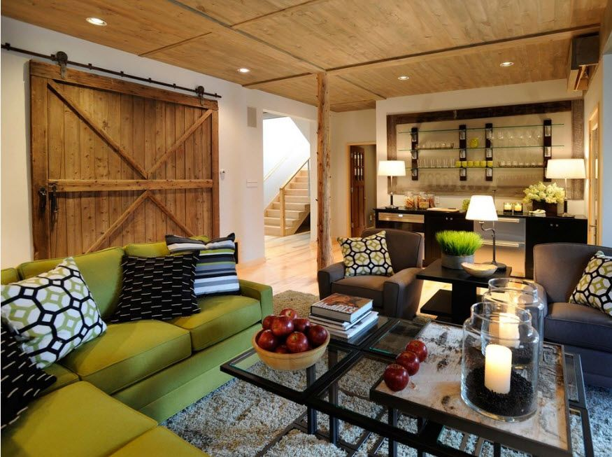 Bleached Oak Color in Modern Interior Design.  Rustic, hi-tech and minimalism intermixing in large effective living room