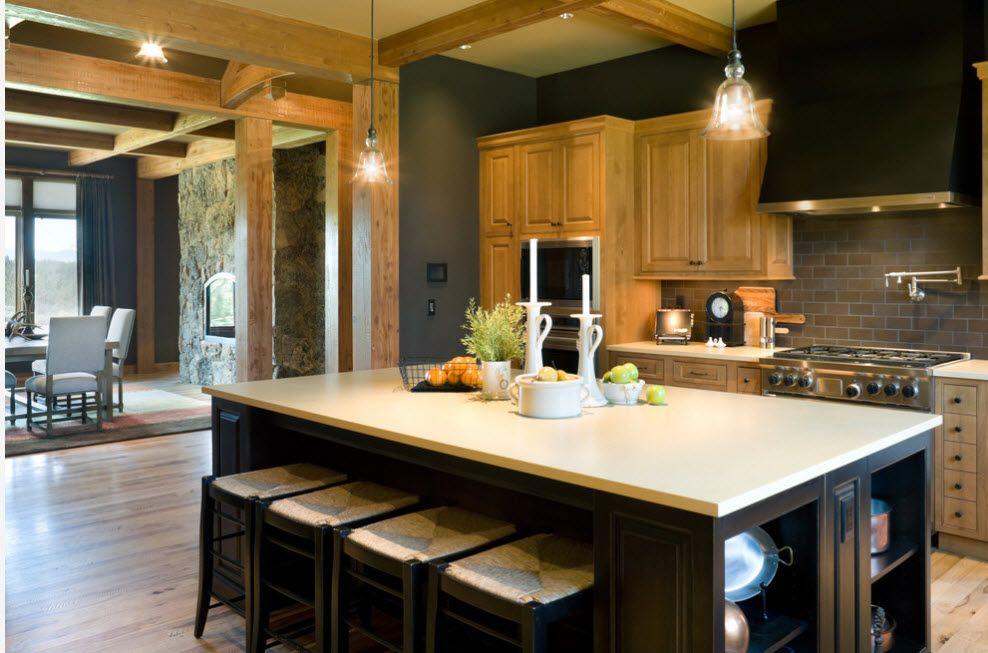 Bleached Oak Color in Modern Interior Design. Noble design for the kitchen with contrasting color theme