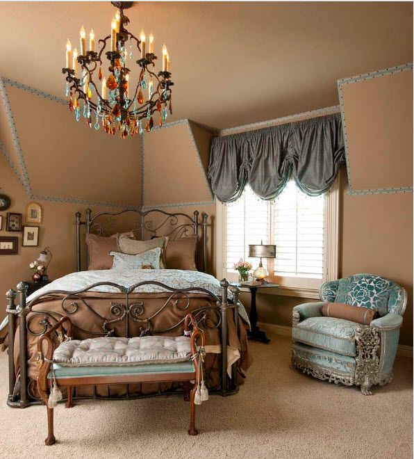 Victorian style with lambrequins and large chandelier
