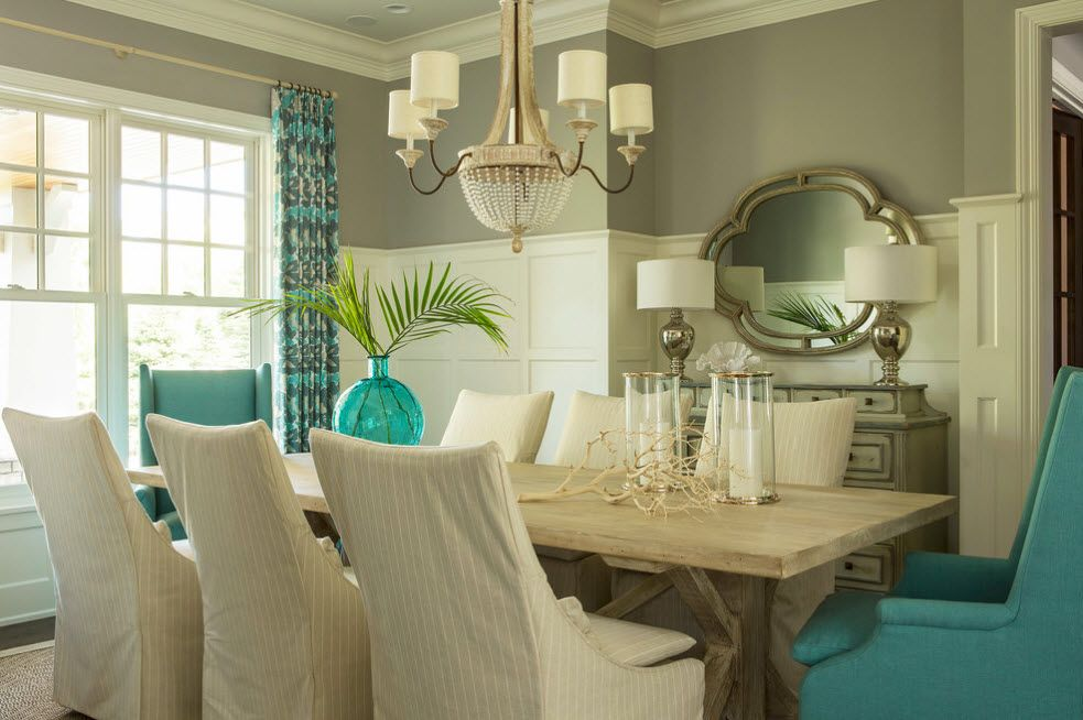 Pastel colored desogned for the dinign room in the private house