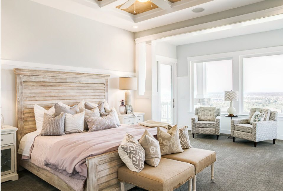 Bleached Oak Color in Modern Interior Design. A set of headboard and legboard in the spacious Scandinavian styled room