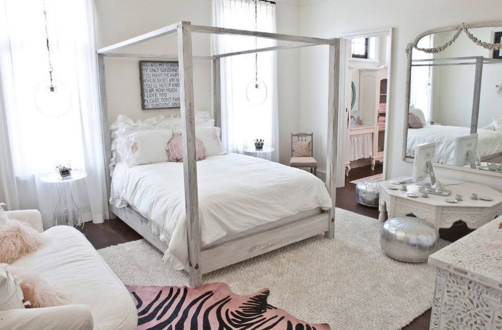 Bleached oak with silver tone in the Rustic styled bedroom