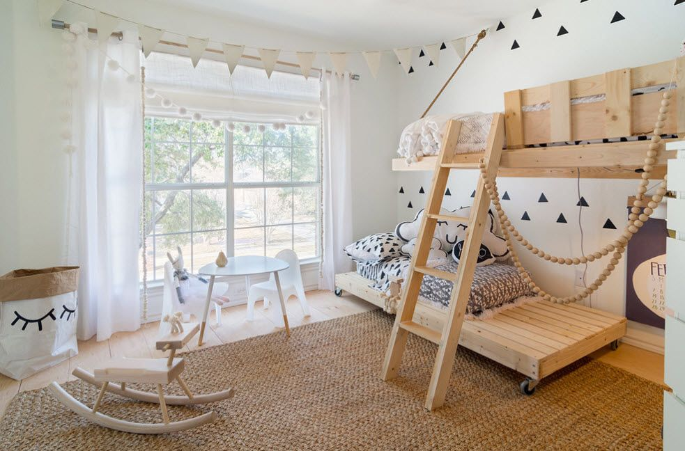 Bleached Oak Color in Modern Interior Design.  Neat wooden material for ladder of the bunk bed