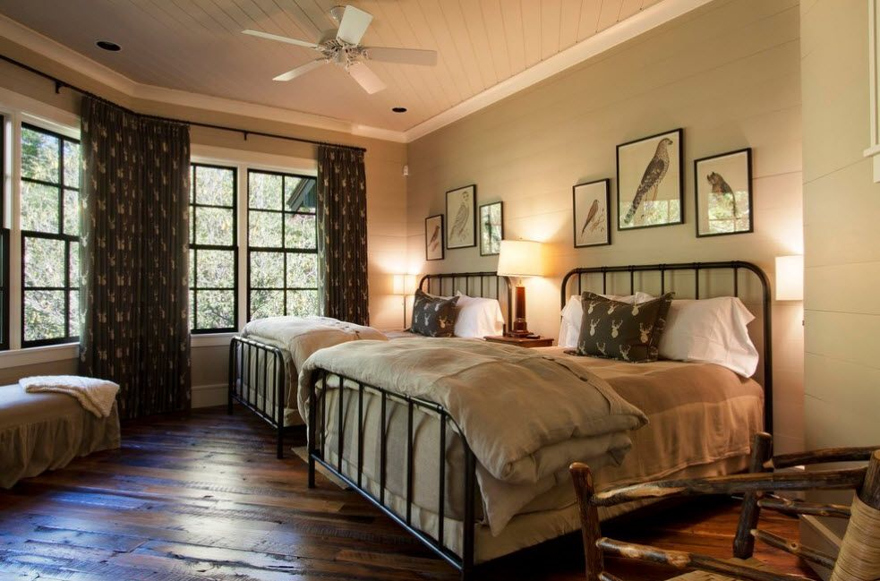 Classic setting of the bedroom with olive painted walls