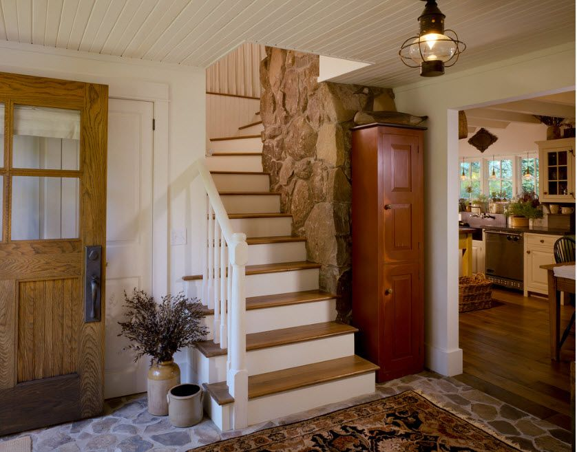 The Use of Decorative Stone for Modern Interiors' Finishing. Artificial granite at the stairway
