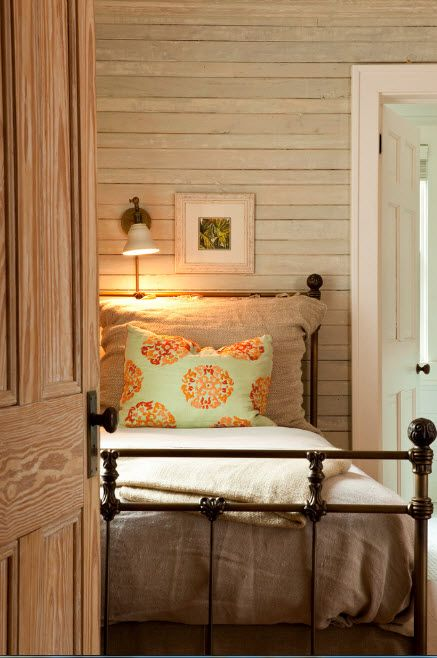 Rustic calmness of the wooden trimmed room