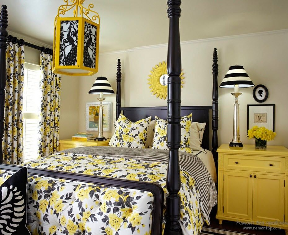 Yellow Color Interior Decoration. Complementary & Main Role. Canopy wooden bed with spotted linen