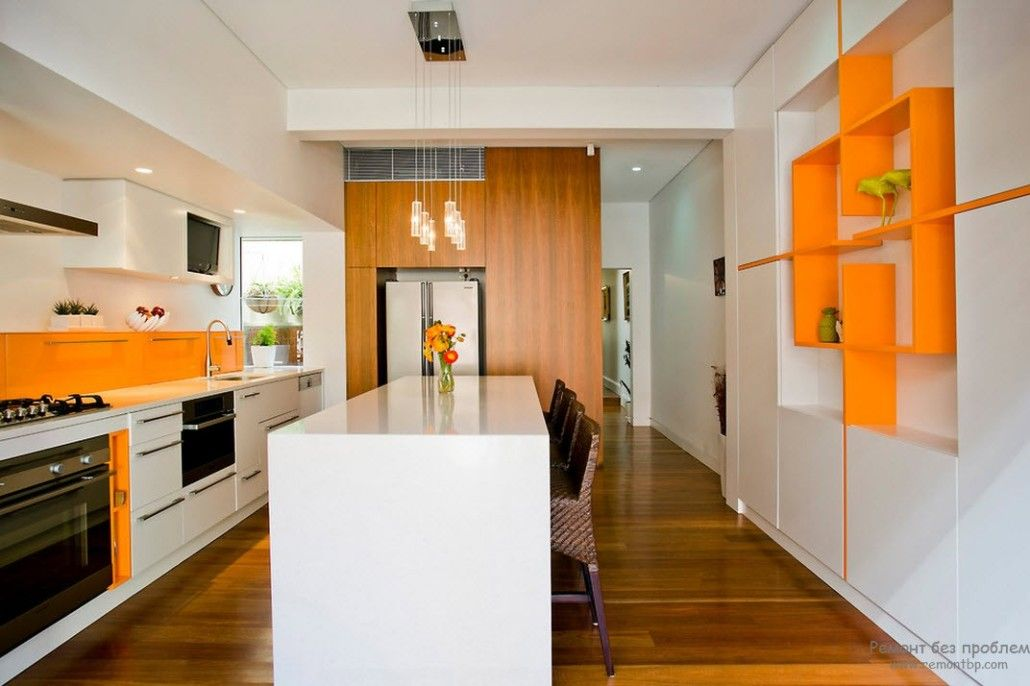 Modern interior decoration with the use of natural wood and orange suspended shelves