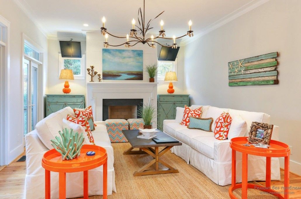 Mediterranean design style and the nice idea of turquoise and orange elements