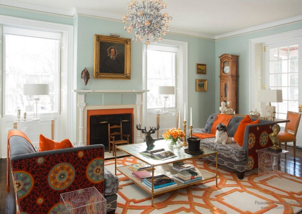 Orange Color Interior Decoration Real Photo Examples. Curcles on the carpet