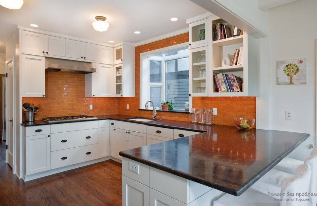 Orange Color Interior Decoration Real Photo Examples. Wall paint for the spacious Classic kitchen