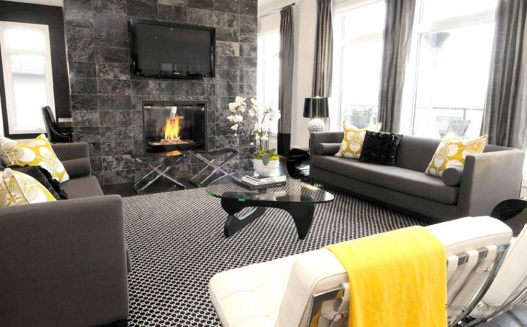 Original decoration of the living room looking like a men's cave in dark noble granite