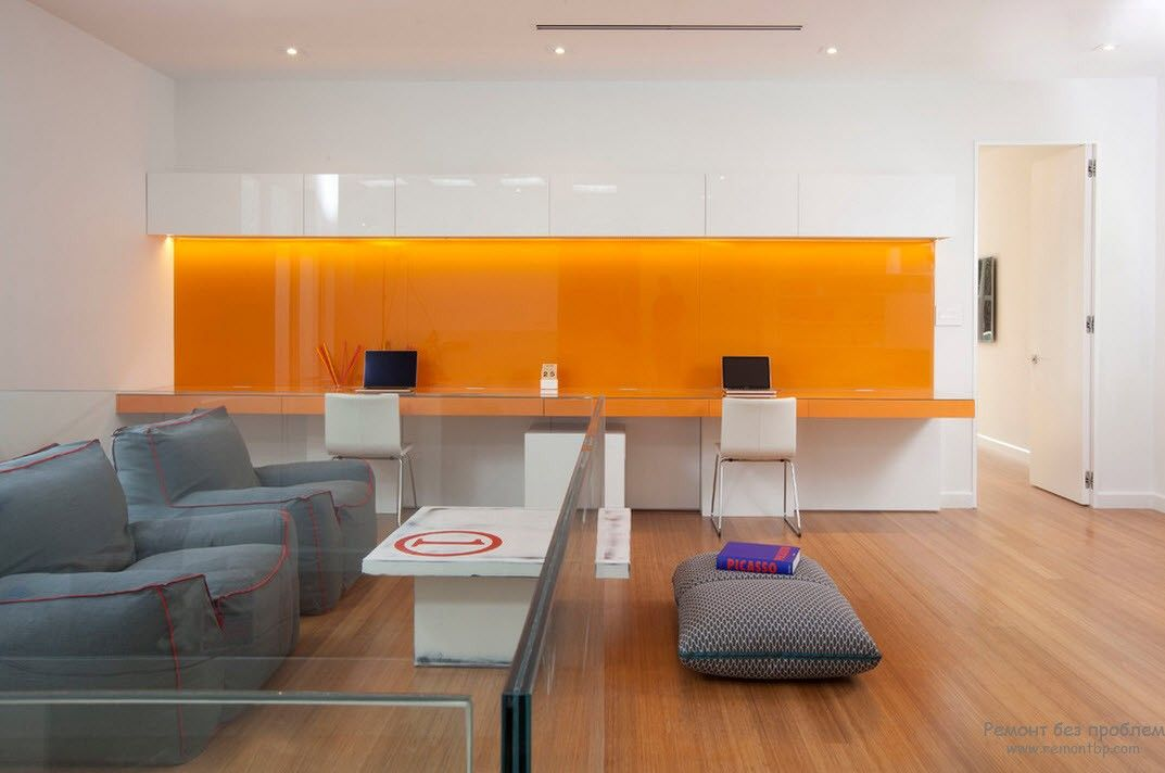Orange Color Interior Decoration Real Photo Examples. Hi-tech design in the kitchen with glossy appetizing surfaces