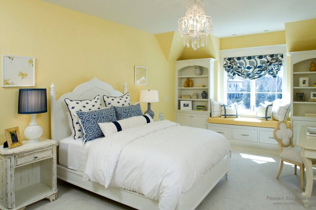 White bedroom floor and sleeping place with the yellow accent of the wall