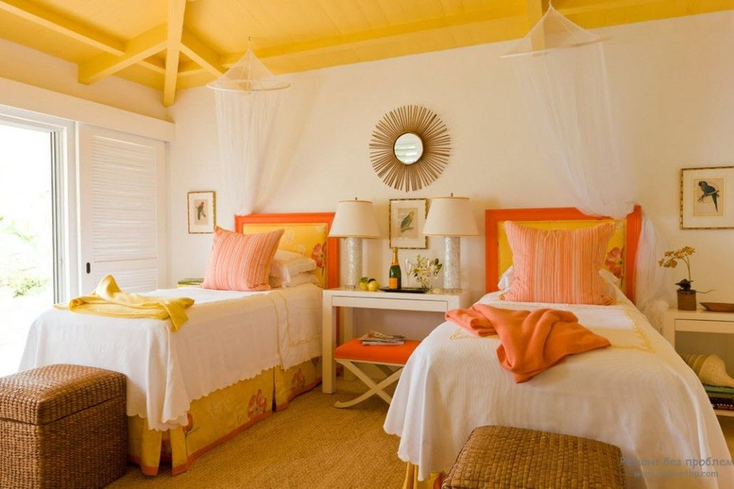 Orange Color Interior Decoration Real Photo Examples. Bedrom for two with yellow complementing