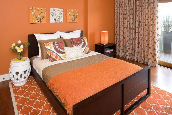 Orange Color Interior Decoration Real Photo Examples. Classic decorated bedroom with same color at every piece of atmosphere