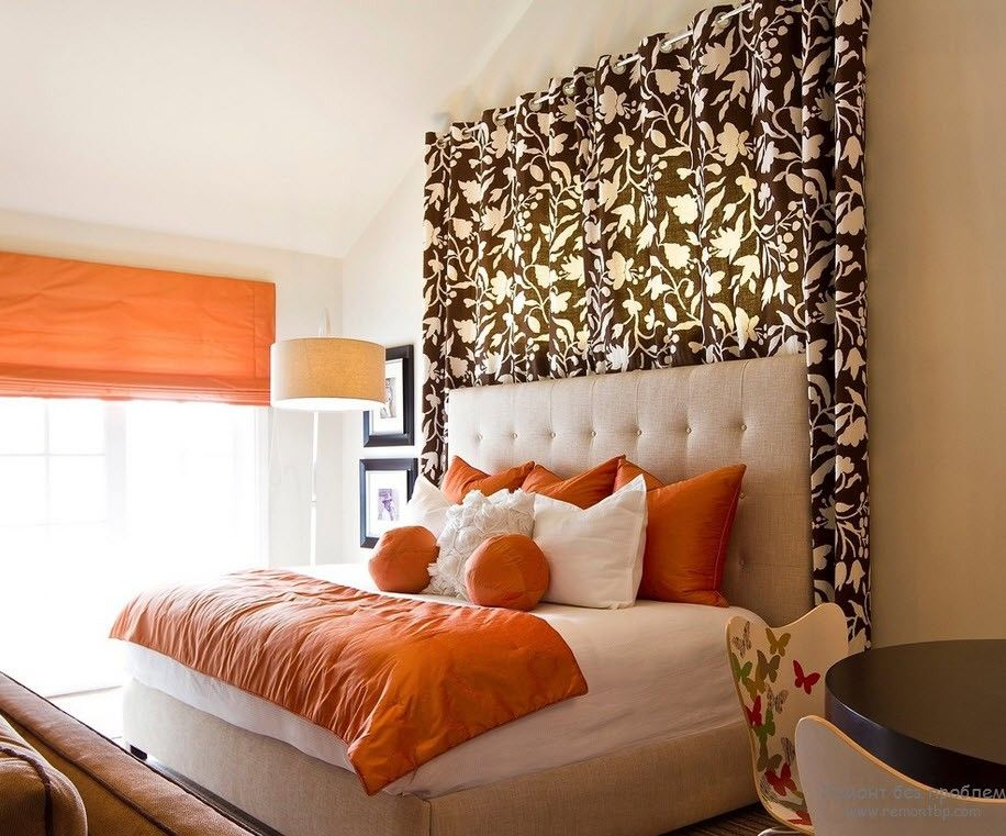Orange Color Interior Decoration Real Photo Examples. Absolutely unusual headboard decorating