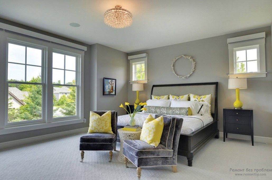 Gray Classic bedroom with the touch of bright yellow