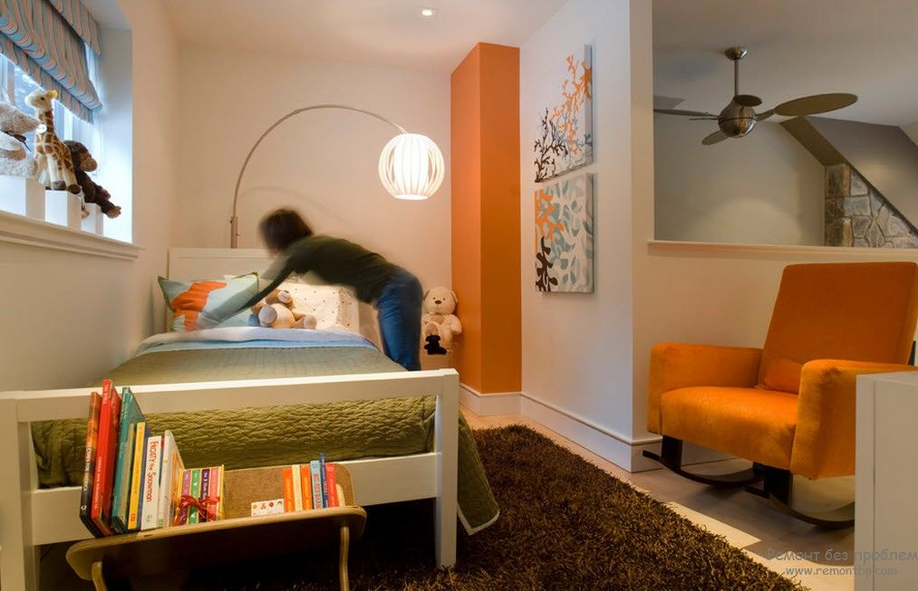 Orange Color Interior Decoration Real Photo Examples. Just another unusual bedroom setting