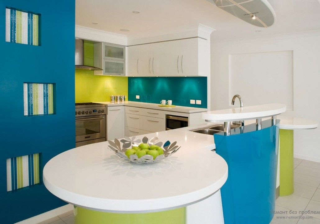 Ultramodern large kitchen design with successful mix of lime and turquoise colors on glance surfaces