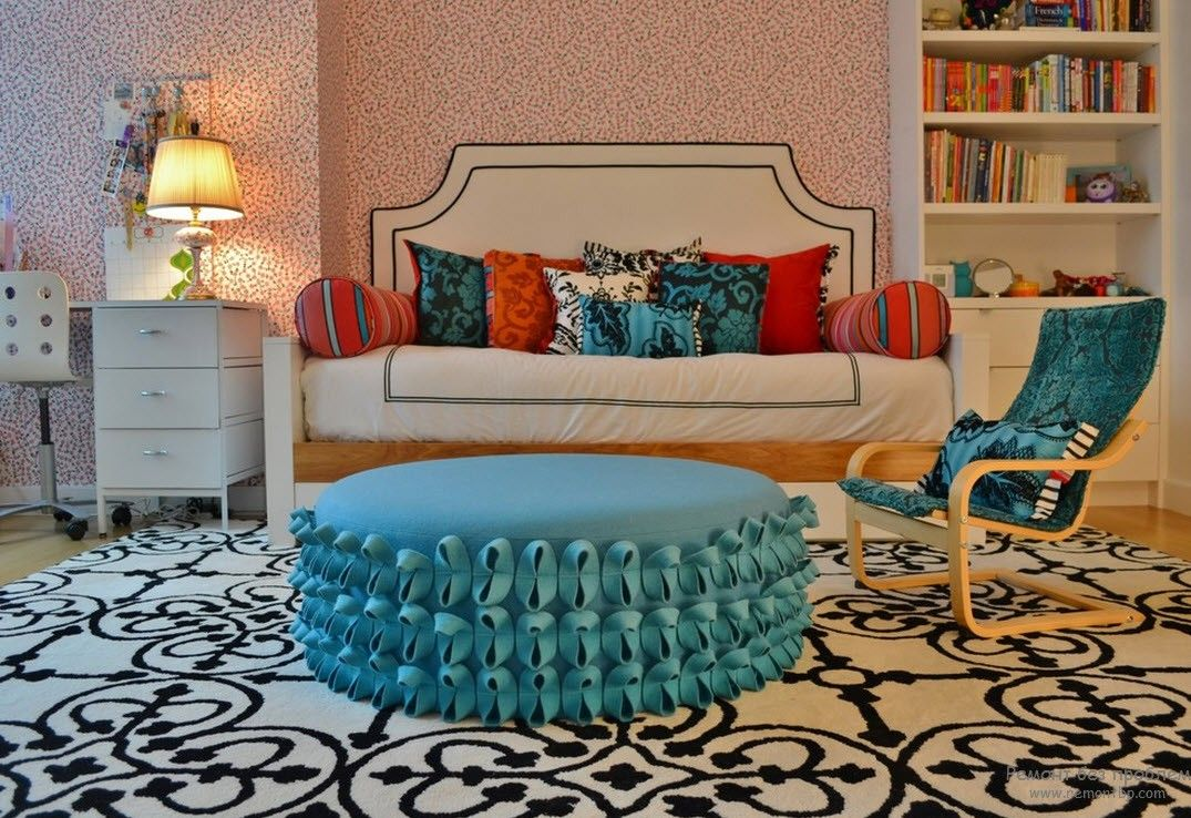 Modern Youth Interior Design. Photo Ideas. Girlish interior in the girlish bright colors