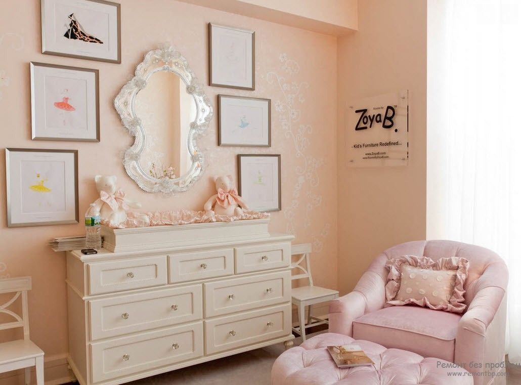 Classic decoration of the girlish bedroom with cozy wooden cabinet
