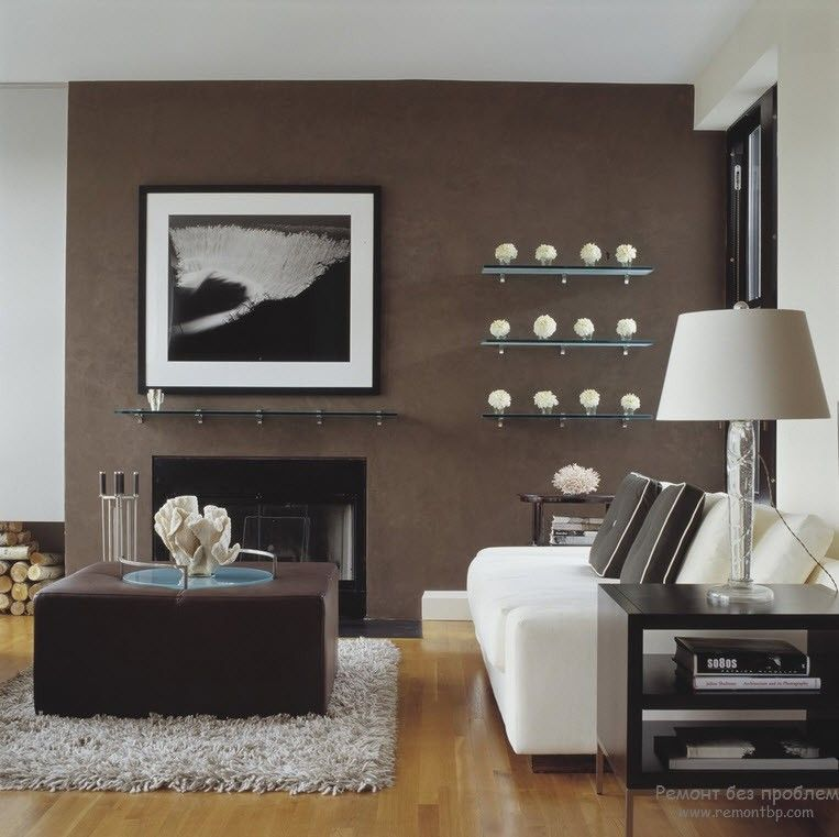 Modern laconic interior design with the brown painted walls