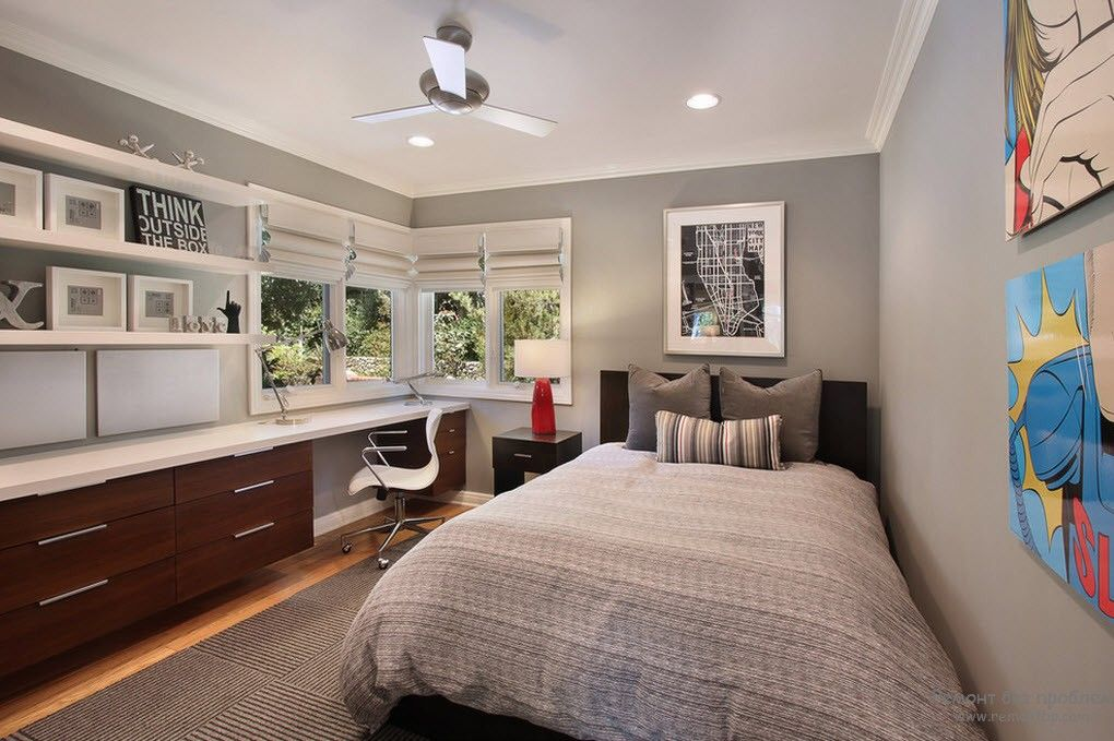 Couple of gray shades used to decorate the modern creative interior of the boy's room