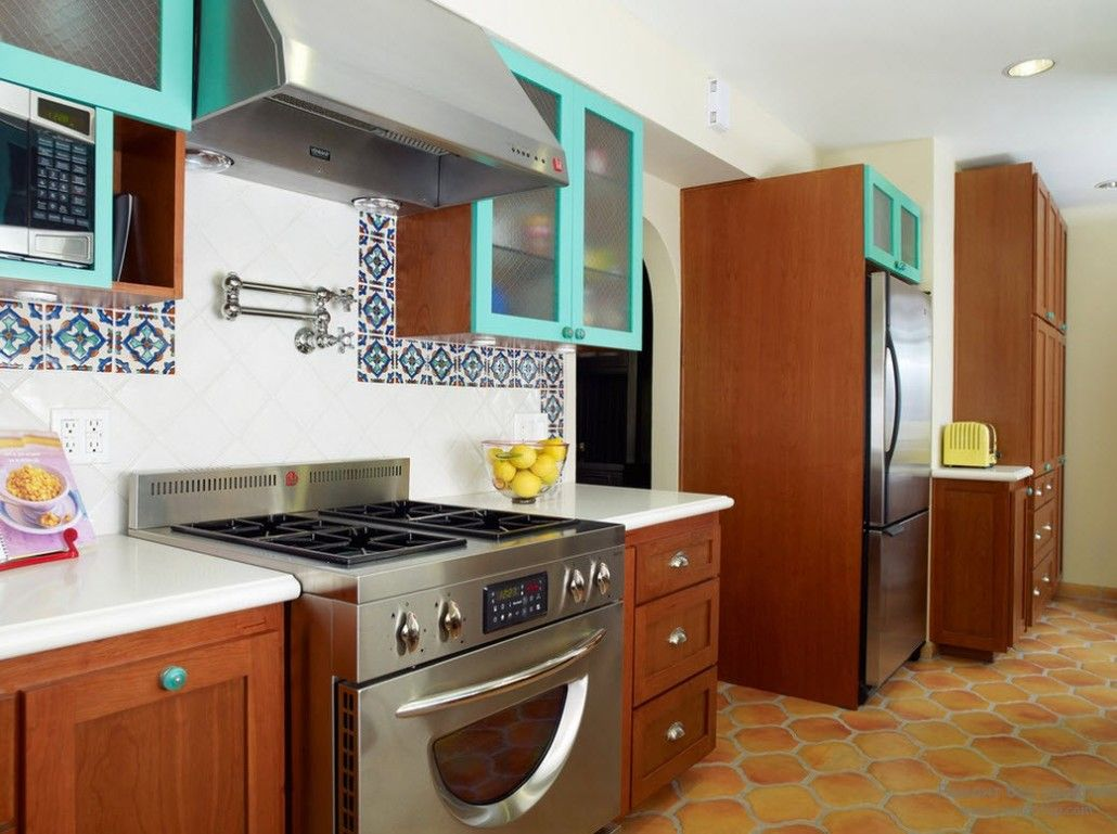 Turquoise Color Interior Decoration. Marine Theme for Your Home. Unusual bright inserts to the kitchen furniture