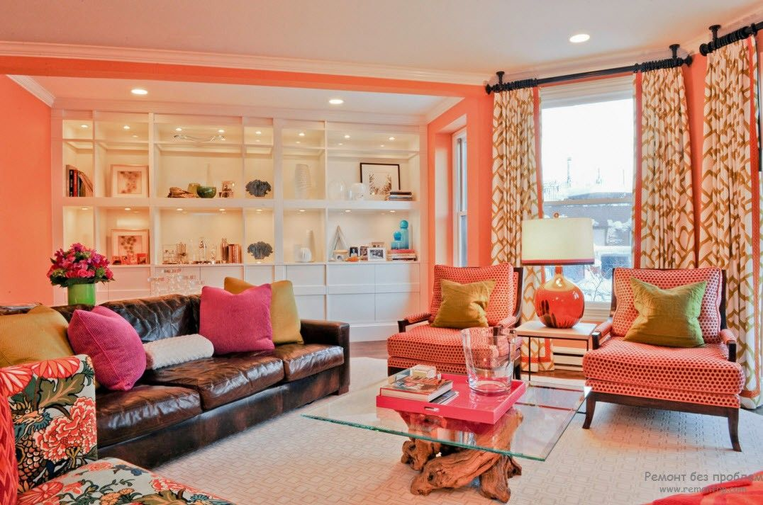 Peach Color Interior Design Ideas. Fruit Orchid at Home. Joyful mix of bright colors to creative festive mood in the living room