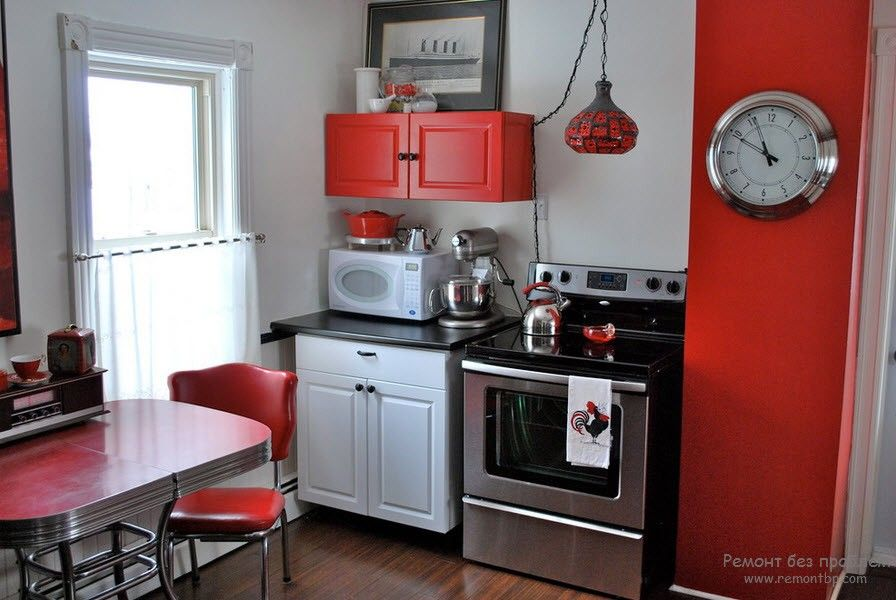 Red Color Interior Decoration. Versatility of Red Shades in the tight but cozy kitchen