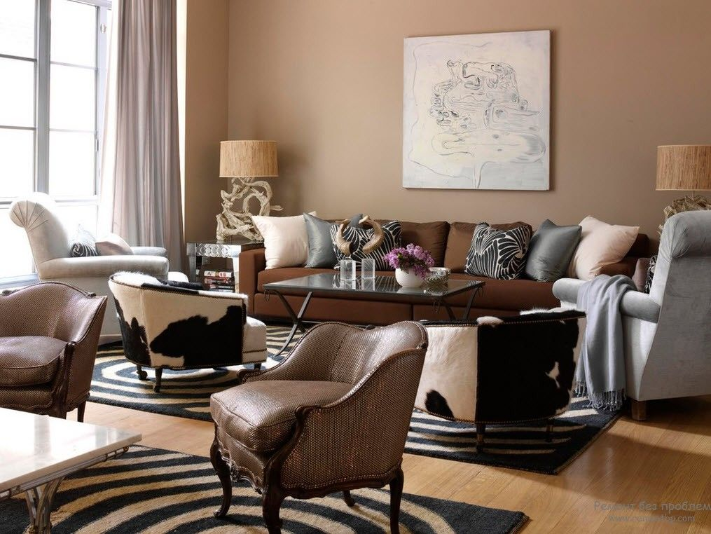 Brown Color Interior Decoration Ideas. Kitchen, Bedroom, Living Room. Zebra rug and Classic leather armchairs