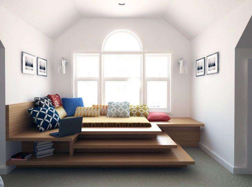 Gorgeous multilayer platform for light small bedroom