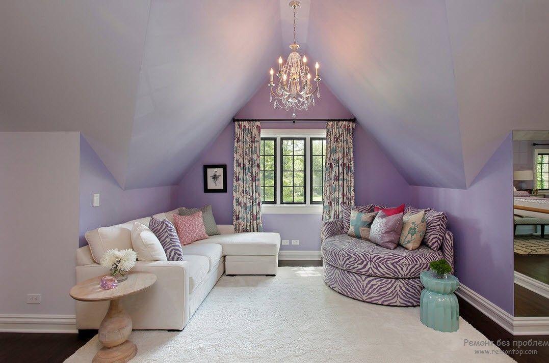 Loft triangle ceiling slants in pale lilac paint